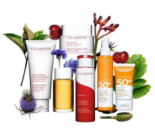 Una selezione di prodotti Clarins