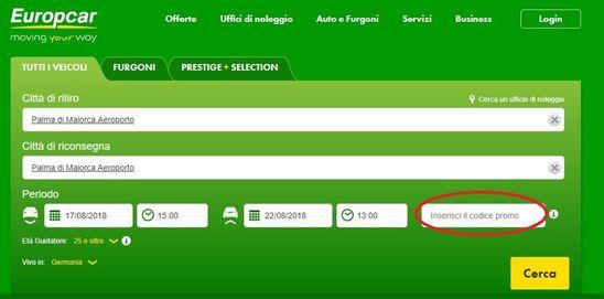 Risparmio dell'autonoleggio con codice sconto Europcar
