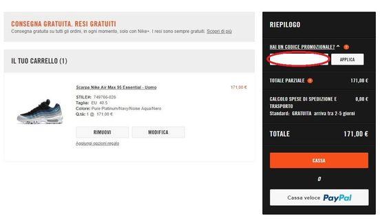 Riscuotere e utilizzare un codice sconto Nike