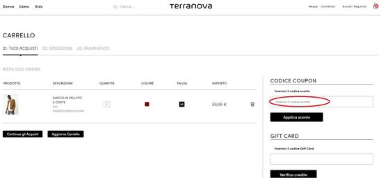 Come utilizzare un codice sconto per gli acquisti su Terranova