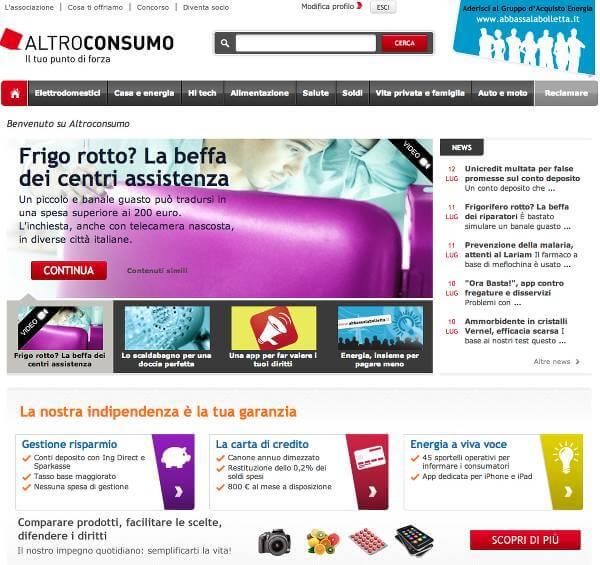 Homepage del sito di Altroconsumo