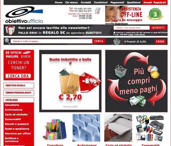 Obiettivoufficio - Rendi il tuo ufficio più produttivo risparmiando (screenshot homepage)
