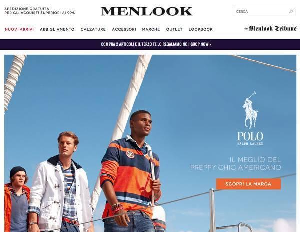 Homepage del sito d'abbigliamento di marca maschile Menlook