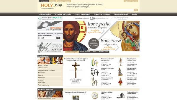 Vista dell'homepage di HolyBuy.it