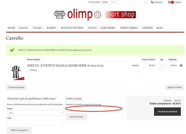 Risparmia con i codici sconto Olimposportshop.it