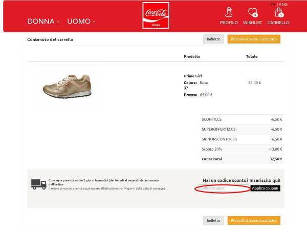 Come usare un codice sconto CocaCola shoes