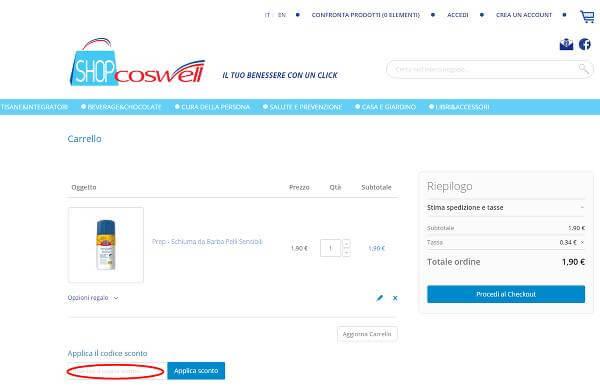Segui questi passaggi per riscuote un codice sconto ShopCoswell: