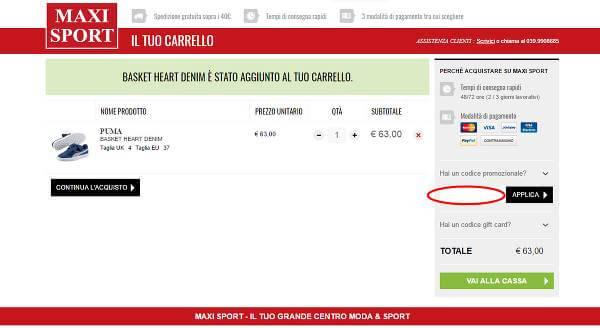 Segui le istruzioni per risparmiare con un codice sconto Maxi Sport