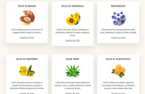 schede dei prodotti sul sito