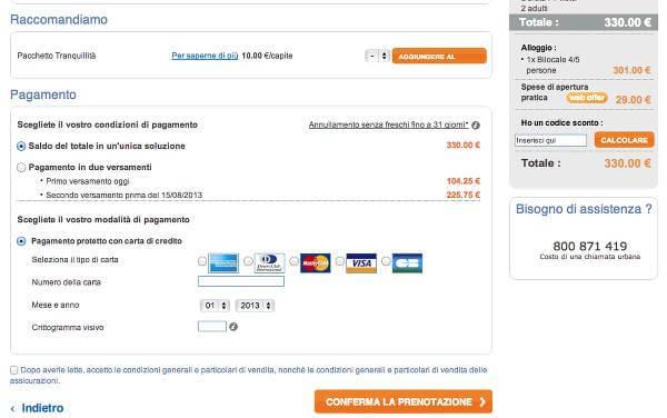 Nella pagina del pagamento, inserisci il codice sconto Pierre & Vacances