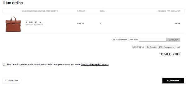 Dopo l'accesso al sito, inserisci nel carrello il codice sconto MONNIER Frères