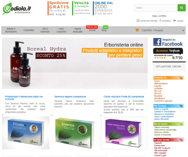 Screenshot del sito Rodiola.it