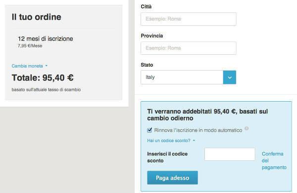 Il campo del codice sconto Scambiocasa.com nella pagina di pagamento dell'abbonamento