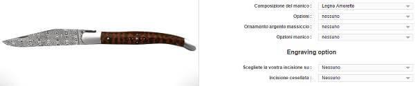 Un esempio del processo per creare il proprio coltello Laguiole personalizzato