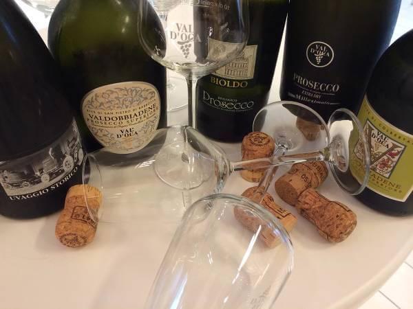 Bottiglie di prosecco firmate Val D'Oca