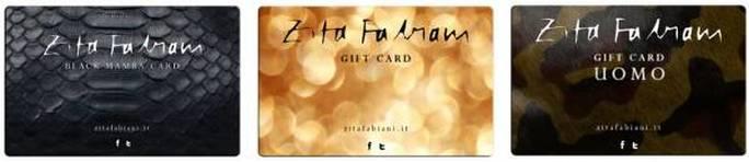 Alcune delle gift card proposte da Zita Fabiani