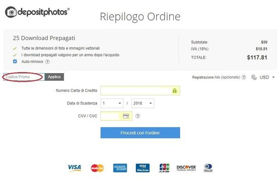 Riscuotere un codice promo Depositphotos