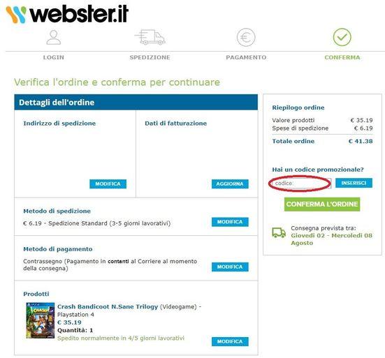 Il risparmio grazie all'uso di un codice sconto Webster