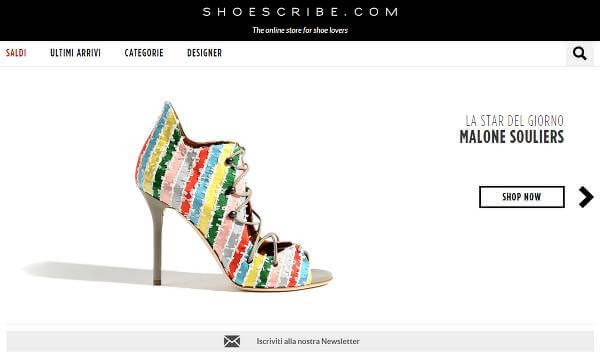 Screenshot del sito shoescribe.com
