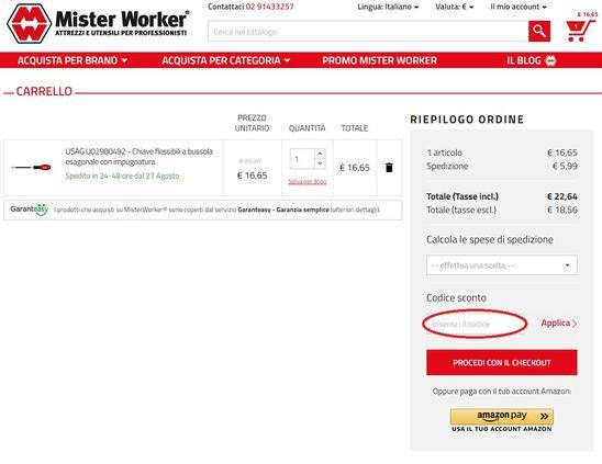 Come riscuotere un codice sconto Mister Worker?
