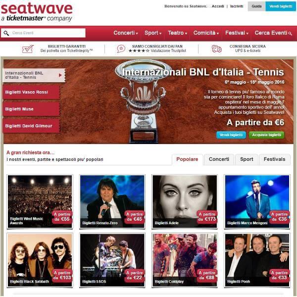 Screenshot della homepage del sito di Seatwave