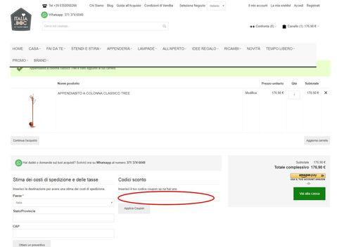 Riscuotere Ail codice sconto nella pagina riepilogativa d'acquisto.