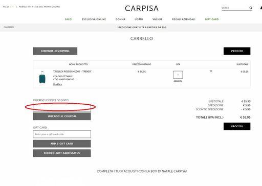 Lo spazio dove inserire il codice sconto Carpisa si trova nella pagina di riepilogo.