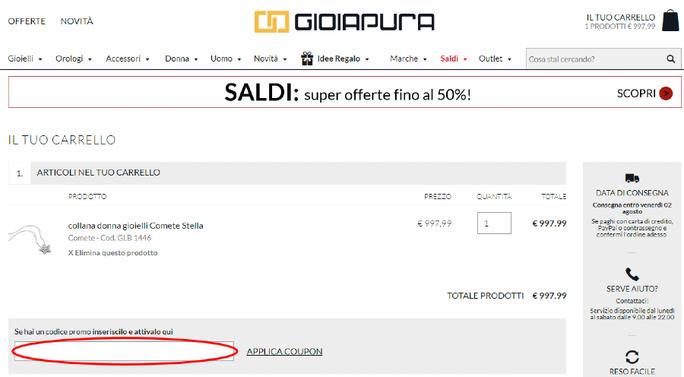 Riscuoti un codice sconto e risparmia acquistando su Gioiapura!