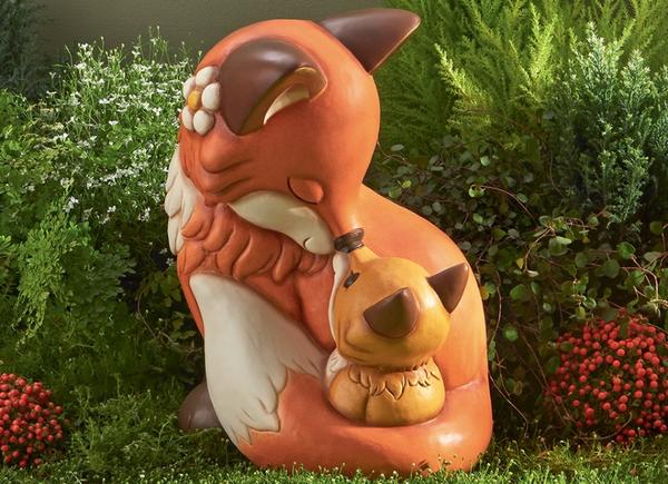 Thun icone in ceramica dipinta a mano volpe con cucciolo