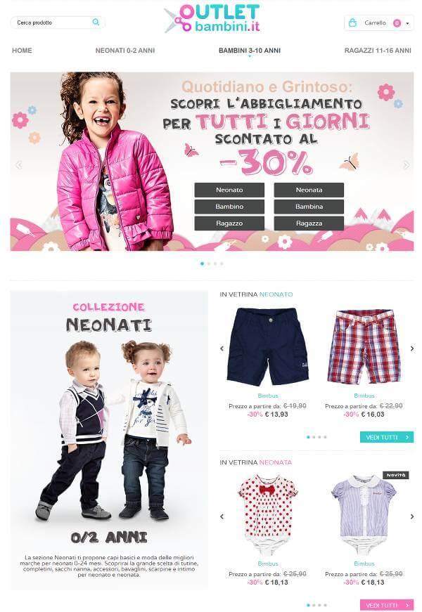 Screenshot del sito Outlet Bambini
