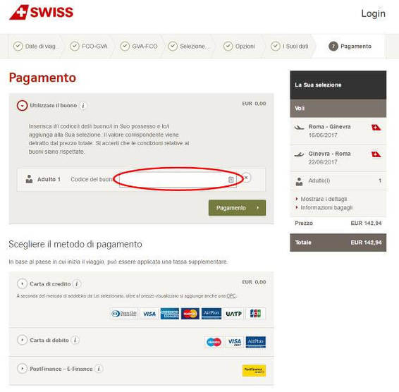 Risparmia con un codice sconto Swiss International Air Lines