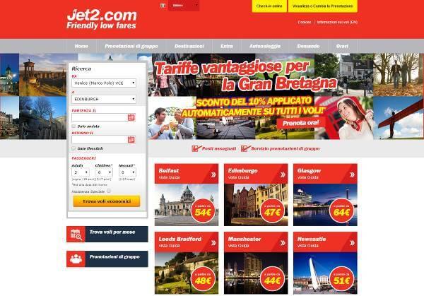 Screenshot del sito Jet2.com