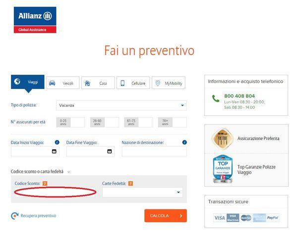 Il box del codice sconto Allianz