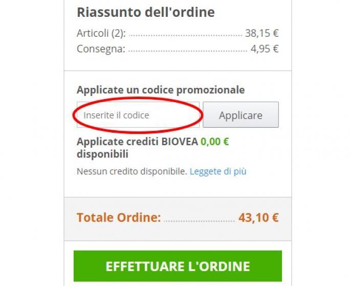 Risparmiare utilizzando un codice sconto Biovea