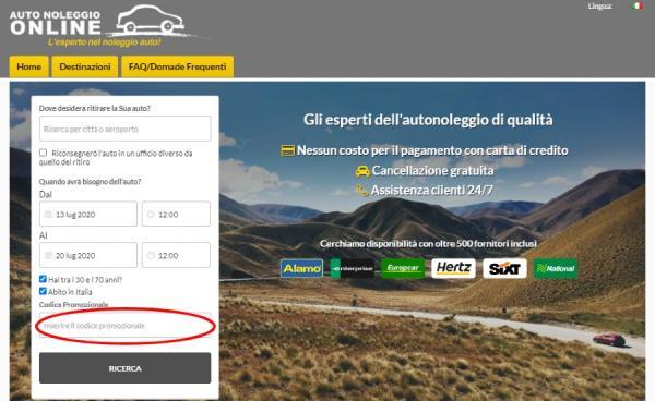 Utilizzare un codice sconto Autonoleggio Online