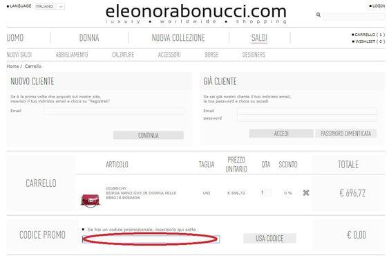Riscuotere un codice sconto Elenora Bonucci