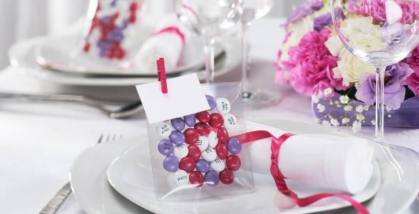 Esempio di confezione di My M&M's realizzata per un matrimonio