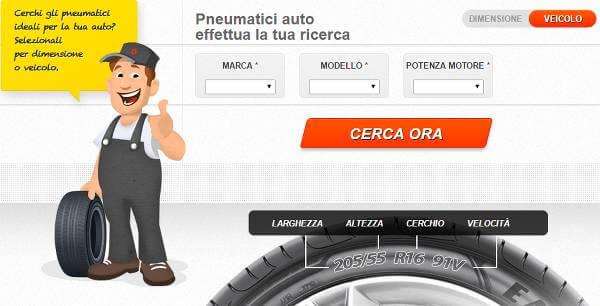 Immagine del configuratore da utilizzare per scegliere gli pneumatici
