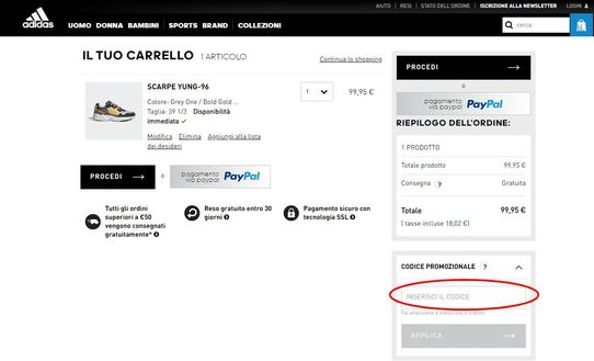 Il box per attivare il codice sconto adidas si trova nella pagina di riepilogo.