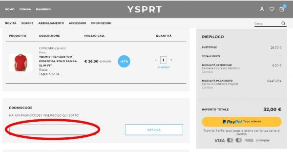 Come riscuotere un codice sconto YouSporty