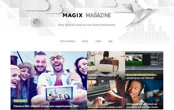 Screenshot del blog di Magix chiamato Magix Magazine