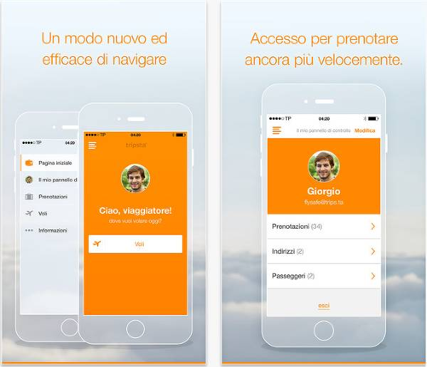 Screenshot dell'app di Tripsta