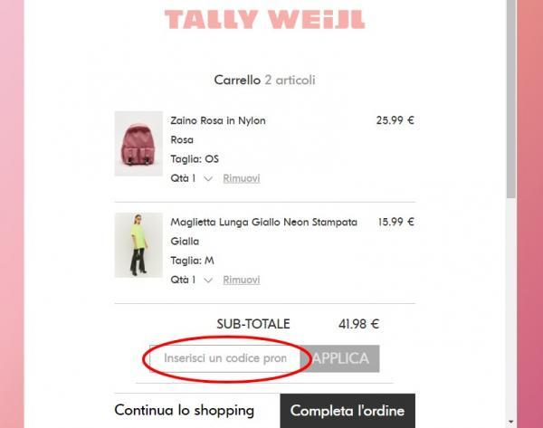 Come risparmiare con un codice sconto Tally Weijl