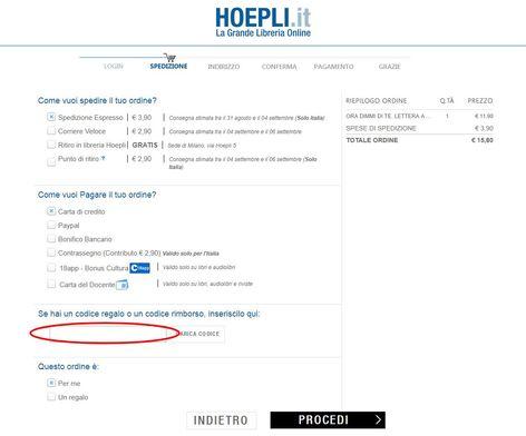 Riscuotere un codice sconto Hoepli e risparmiare sugli acquisti