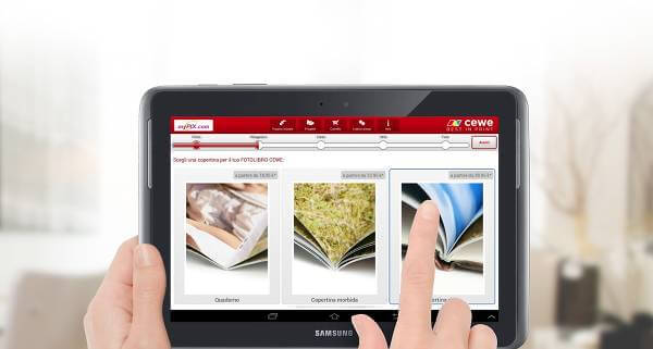 Screenshot dell'app CEWE per iOS e Android