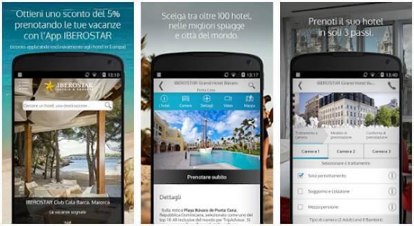Screenshot della app di Iberostar