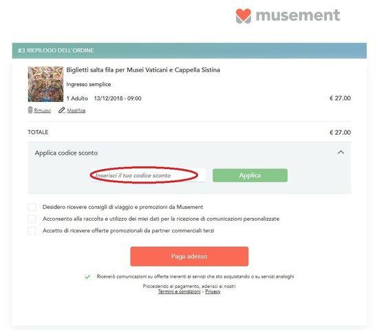 Dove applicare il codice sconto sul sito Musement