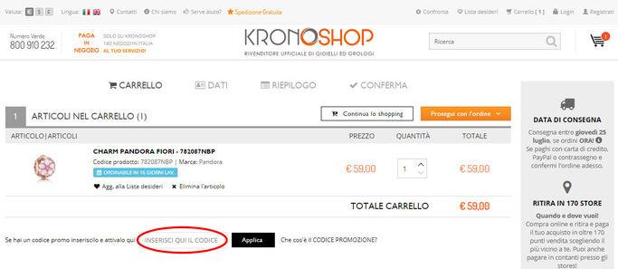 box codice promozione Kronoshop