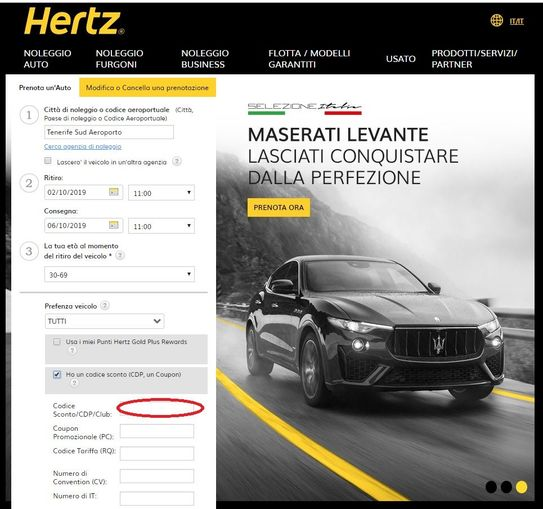 Dove inserire il codice sconto Hertz durante la ricerca