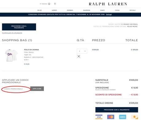 La casella per riscuotere il codice sconto si trova nella pagina della shop bag.